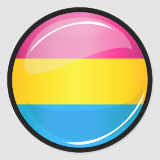 Glossy Round Pansexual Pride Flag Classic Round Sticker