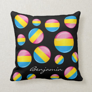 Glossy Round Pansexual Pride Flag Throw Pillow