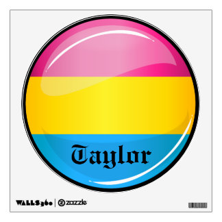 Glossy Round Pansexual Pride Flag Wall Sticker