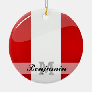 Glossy Round Peruvian Flag Double-Sided Ceramic Round Christmas Ornament