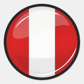 Glossy Round Peruvian Flag Round Sticker