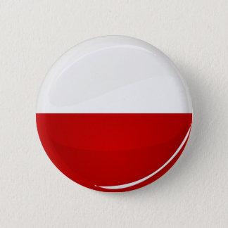Glossy Round Polish Flag Button