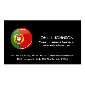Glossy Round Portuguese Flag Business Card