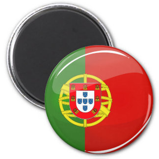 Glossy Round Portuguese Flag Magnet