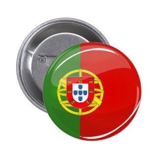 Glossy Round Portuguese Flag Pinback Button