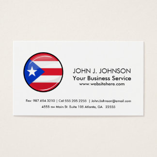 Glossy Round Puerto Rican Flag Business Card