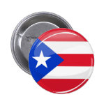 Glossy Round Puerto Rican Flag Button