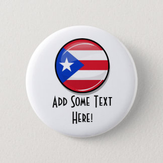 Glossy Round Puerto Rican Flag Pinback Button