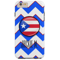 Glossy Round Puerto Rican Flag Tough iPhone 6 Plus Case