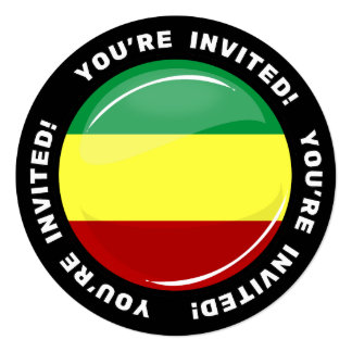 Glossy Round Rasta Flag Custom Invite Template
