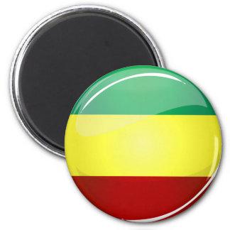 Glossy Round Rasta Flag Magnet