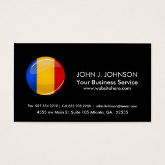 Glossy Round Romanian Flag Business Card