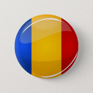 Glossy Round Romanian Flag Button