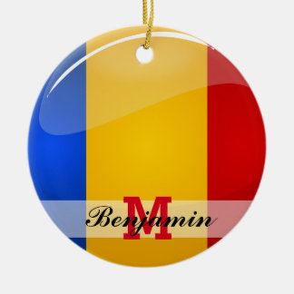 Glossy Round Romanian Flag Double-Sided Ceramic Round Christmas Ornament