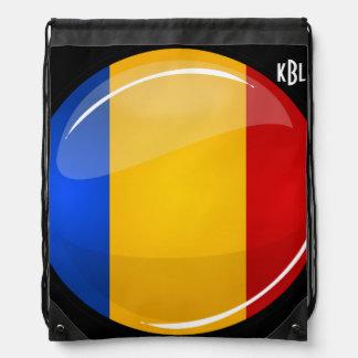 Glossy Round Romanian Flag Drawstring Bag