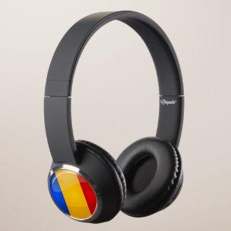 Glossy Round Romanian Flag Headphones