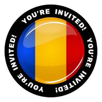 Glossy Round Romanian Flag 5.25x5.25 Square Paper Invitation Card