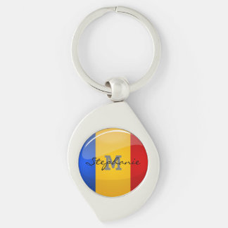 Glossy Round Romanian Flag Keychain