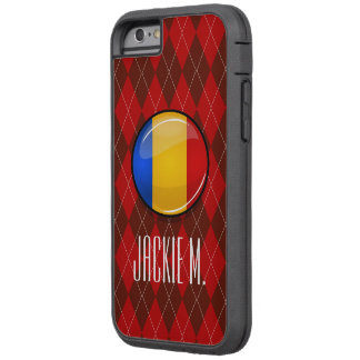 Glossy Round Romanian Flag Tough Xtreme iPhone 6 Case