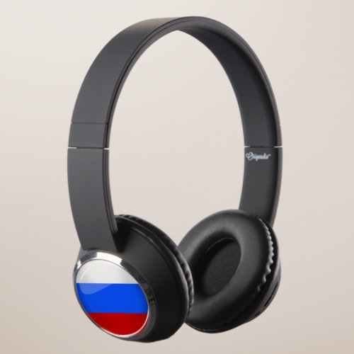 Glossy Round Russia Flag Headphones