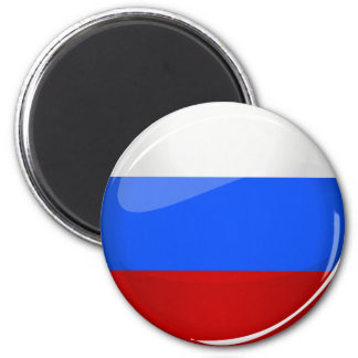 Glossy Round Russia Flag Magnet