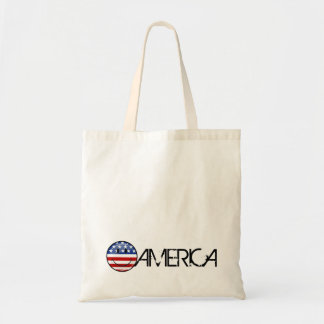 Glossy Round Smiling American Flag Budget Tote Bag
