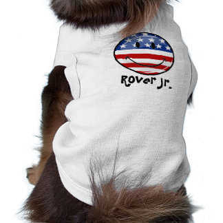 Glossy Round Smiling American Flag Dog Clothes