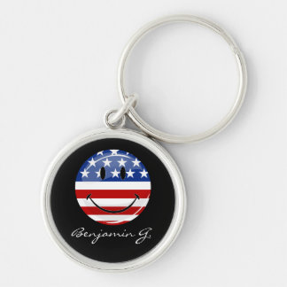 Glossy Round Smiling American Flag Silver-Colored Round Keychain