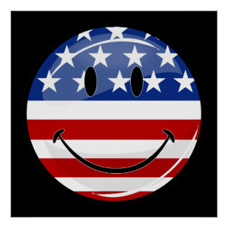 Glossy Round Smiling American Flag Poster