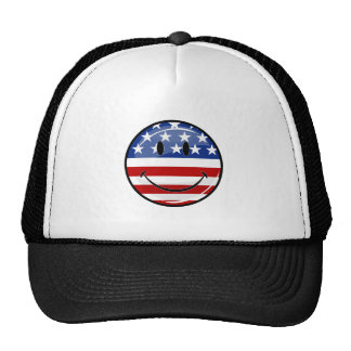 Glossy Round Smiling American Flag Trucker Hat