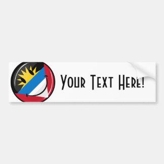Glossy Round Smiling Antigua and Barbuda Flag Bumper Sticker