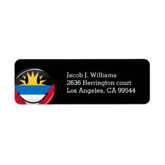 Glossy Round Smiling Antigua and Barbuda Flag Label