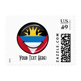 Glossy Round Smiling Antigua and Barbuda Flag Postage