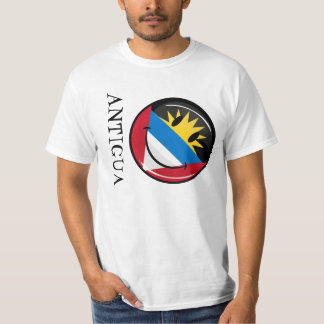 Glossy Round Smiling Antigua and Barbuda Flag T-Shirt