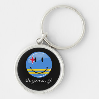 Glossy Round Smiling Aruban Flag Keychain