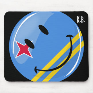 Glossy Round Smiling Aruban Flag Mouse Pad