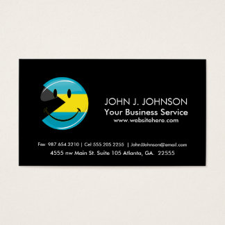 Glossy Round Smiling Bahamain Flag Business Card