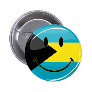 Glossy Round Smiling Bahamain Flag Button