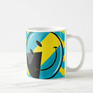 Glossy Round Smiling Bahamain Flag Coffee Mug