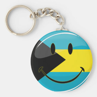 Glossy Round Smiling Bahamain Flag Keychain