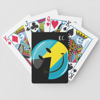Glossy Round Smiling Bahamain Flag Bicycle Playing Cards