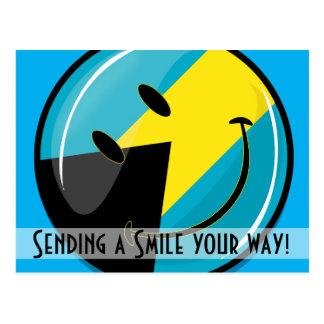 Glossy Round Smiling Bahamain Flag Postcard