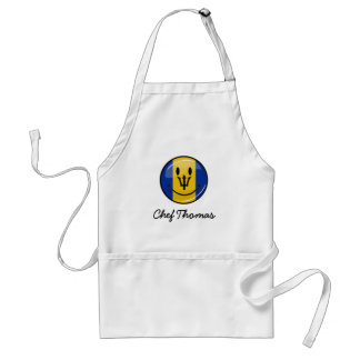 Glossy Round Smiling Barbados Flag Adult Apron