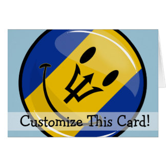 Glossy Round Smiling Barbados Flag Card