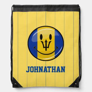 Glossy Round Smiling Barbados Flag Drawstring Backpack
