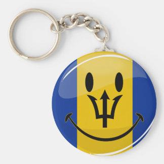 Glossy Round Smiling Barbados Flag Keychain