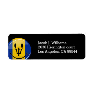 Glossy Round Smiling Barbados Flag Label