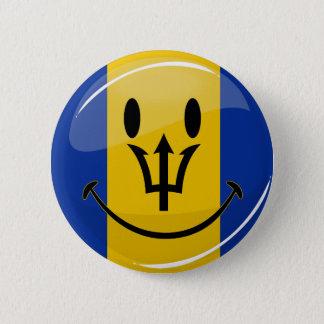 Glossy Round Smiling Barbados Flag Pinback Button