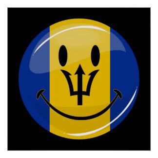 Glossy Round Smiling Barbados Flag Poster