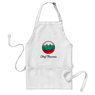 Glossy Round Smiling Bulgarian Flag Adult Apron